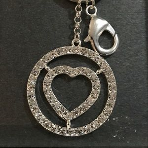 Liz Claiborne Rhinestone Heart Keychain